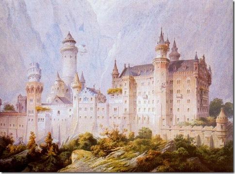 Projecto inical do Castelo de Neuschwanstein, num guache de Christian Jank, 1869.